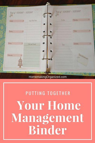 Putting Together Your Home Management Binder