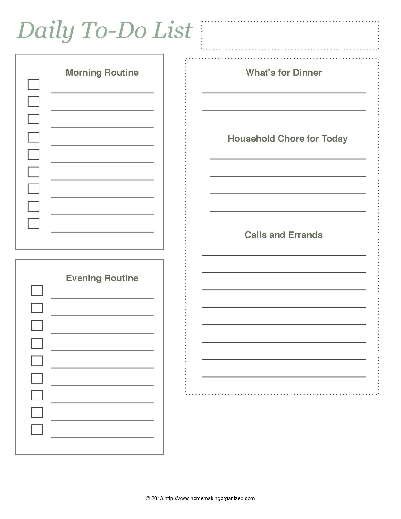 picture relating to Printable Daily to Do List identified as Everyday In the direction of-Do Checklist Absolutely free Printable - Homemaking Ready