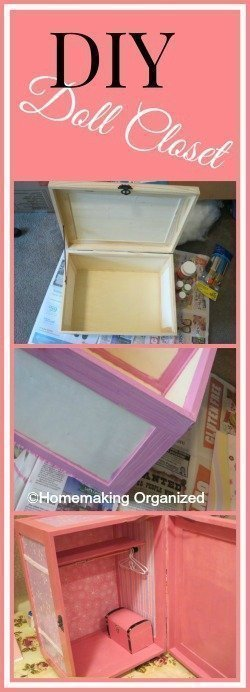 Here's my crafty DIY project and how I made a cute 18 inch doll closet from an unfinished wood crate.