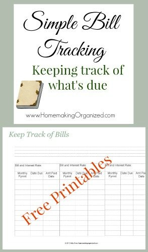 simple bill tracking free printable homemaking organized