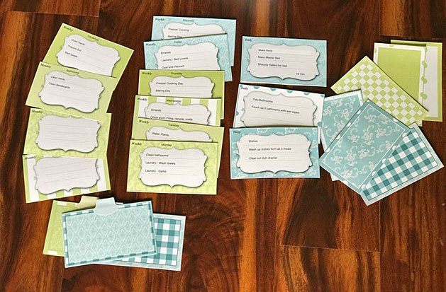 Here is the chore box printables in my home all filled out ready for a day of cleaning!