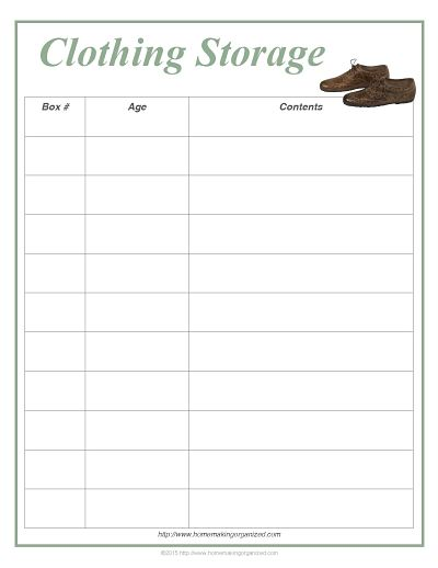 clothing storage printable and inventory sheet homemaking organized