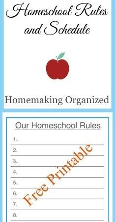 Homeschool Room Schedule and Rules Printables