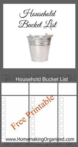 Monthly Home Bucket List Printable {FREE}