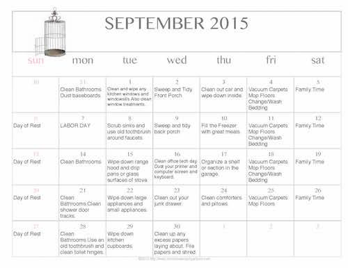 Free Editable Printable September 2015 Cleaning Calendar
