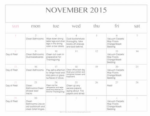 Free Editable Printable November 2015 Cleaning Calendar