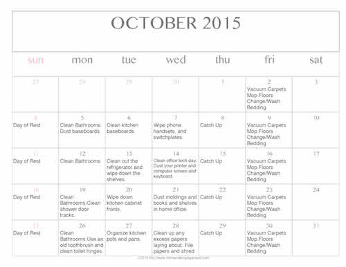 Free Editable Printable October 2015 Cleaning Calendar {Updated}