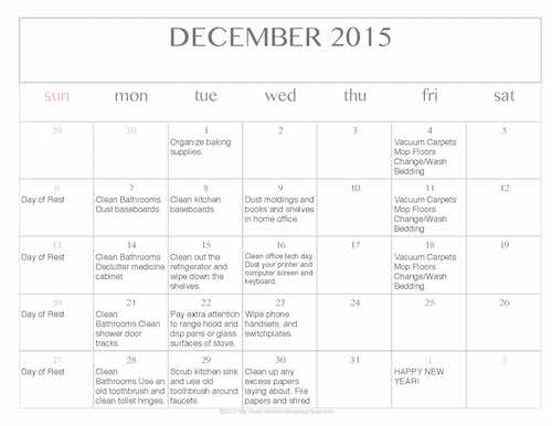 Free Editable Printable December 2015 Cleaning Calendar