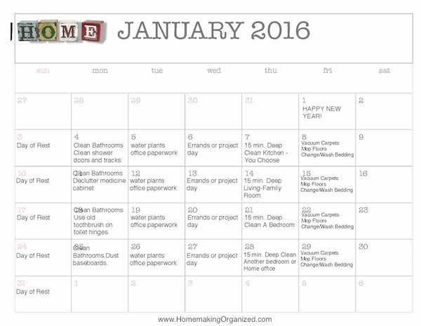 free editable 2016 january cleaning calendar homemaking organized