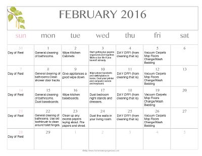 Free Editable 2016 February Cleaning Calendar