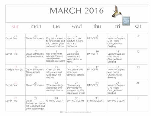 Free Editable 2016 March Cleaning Calendar