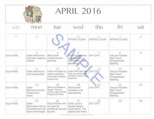 Free Editable Printable April 2016 Cleaning Calendar
