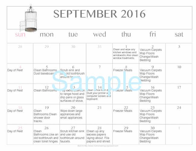 Free Editable Printable September 2016 Cleaning Calendar