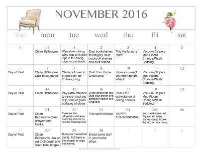 November 2016 Free Printable Editable Cleaning Calendar
