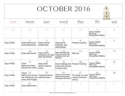 Free Editable Printable October 2016 Cleaning Calendar