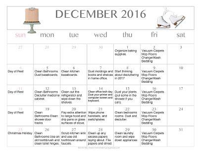 December 2016 Printable Editable Cleaning Calendar {FREE}