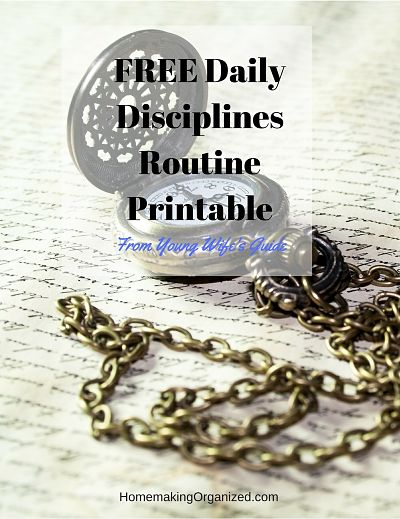 FREE Daily Disciplines Routine Printable from Young Wife's Guide