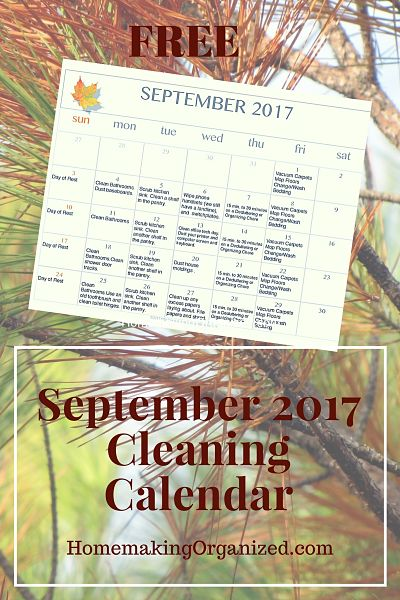 September 2017 Printable Editable Cleaning Calendar {FREE}