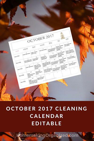 October 2017 Printable Editable Cleaning Calendar {FREE ...