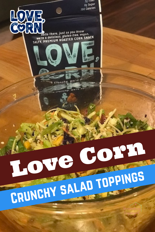 LOVE CORN Sea Salt used as salad toppings.